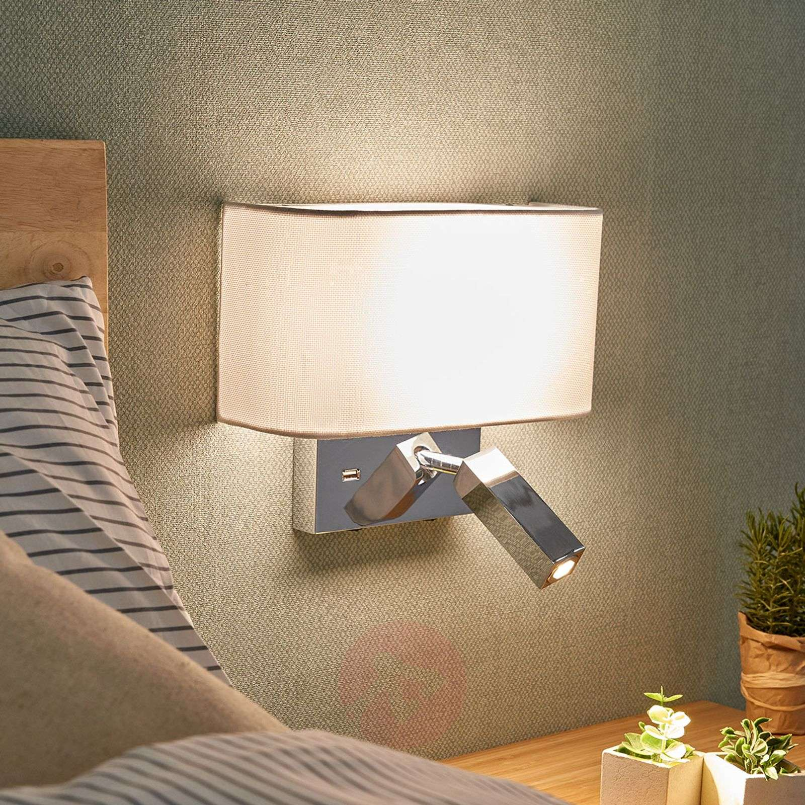 Acquista applique a led virve con lampada da lettura e usb