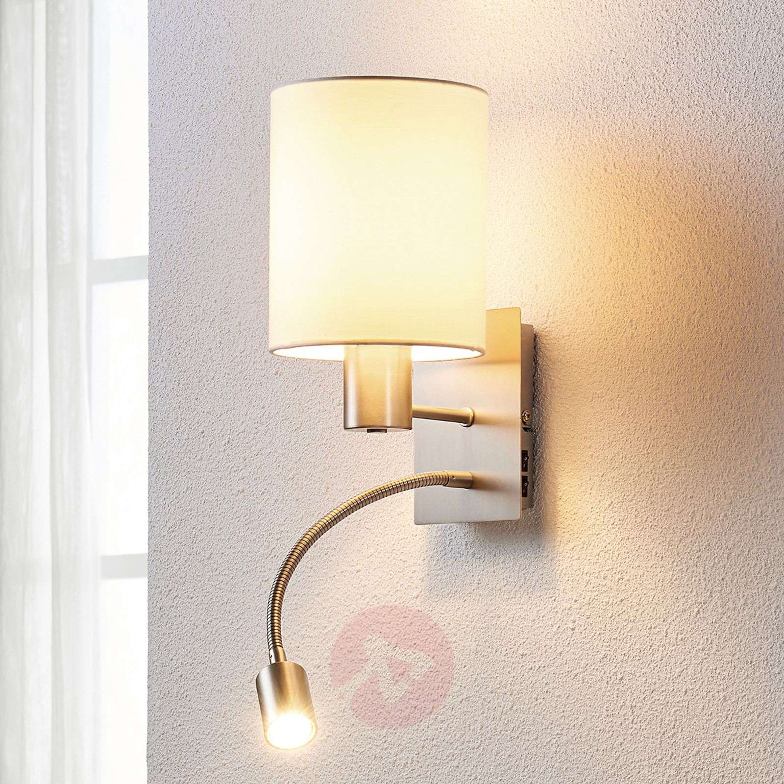 Acquista applique di stoffa shajan con luce di lettura led