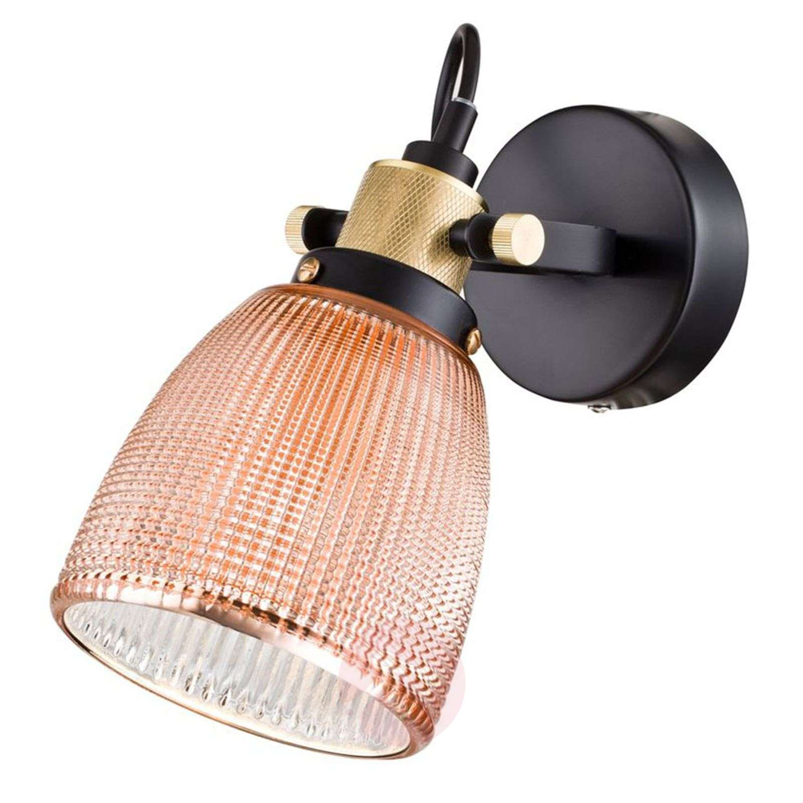 Lampade Rustiche In Rame : Acquista applique tempo con paralume in vetro color rame lampade.it