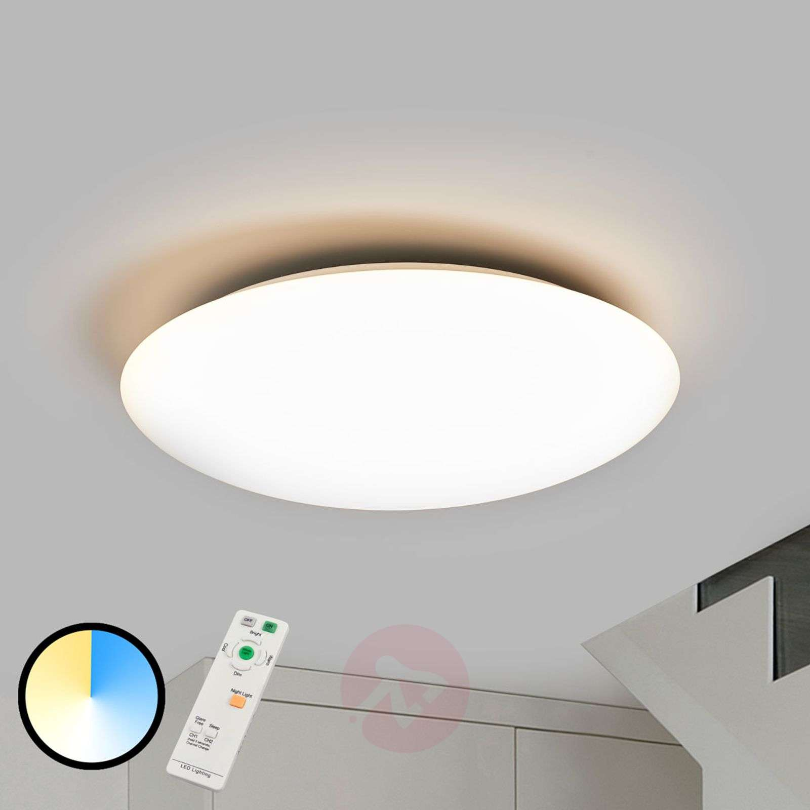 Plafoniere Industriali Diametro 30 : Acquista plafoniera dimmerabile led teo con telecomando lampade.it