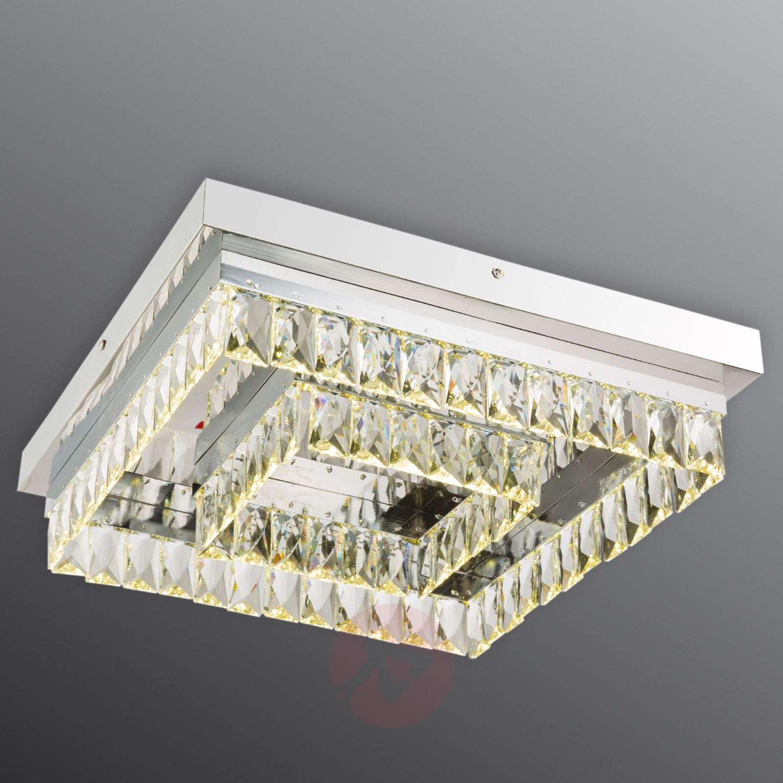 Plafoniera Ufficio Led : Acquista plafoniera led di cristallo febe quadrata 42 cm lampade.it