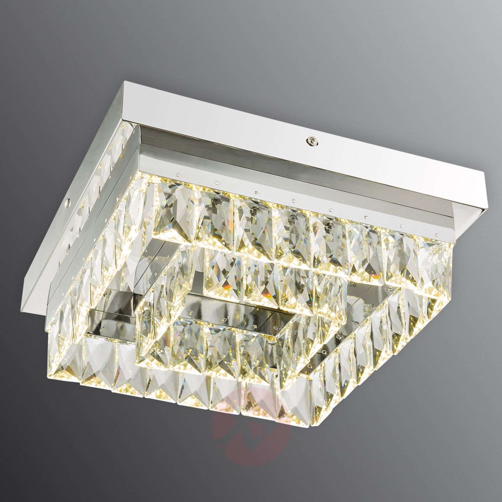Plafoniera Quadrata : Acquista plafoniera quadrata febe led cristallo 30 cm lampade.it