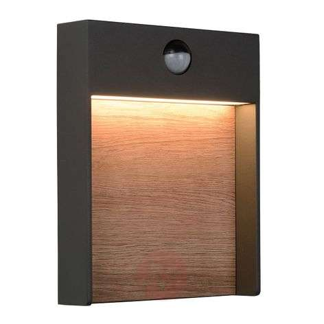 Applique da esterni LED Jellum con decoro in legno