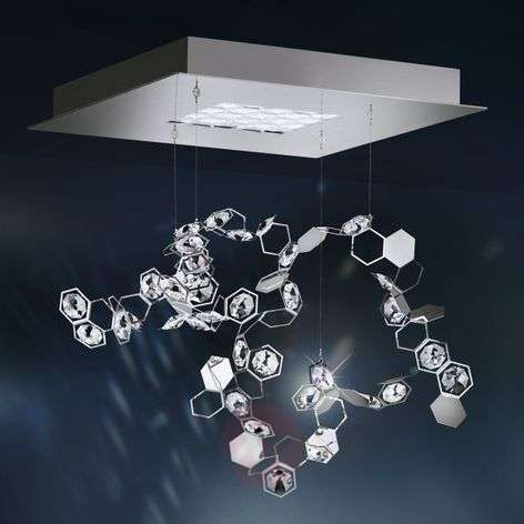 Lampada a sosp. in cristallo Crystalon LED 39x39cm