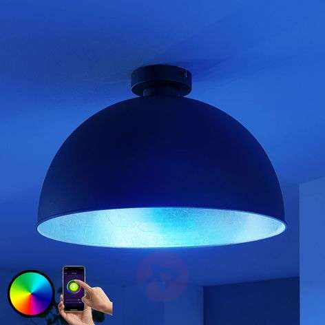 Plafoniera LED Bowl WiFi 41 cm nero/argento