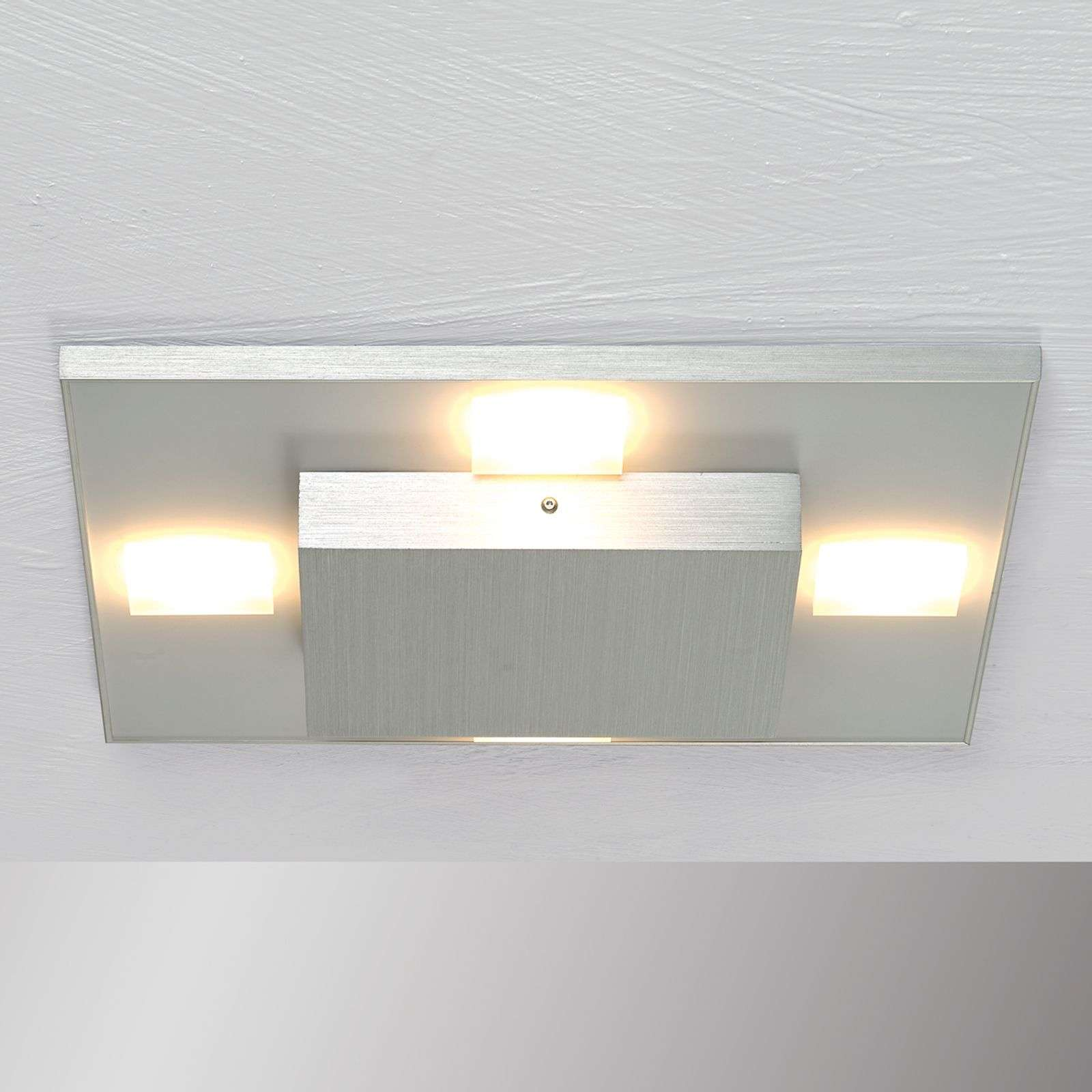 Plafoniera LED quadrata Slight, alluminio