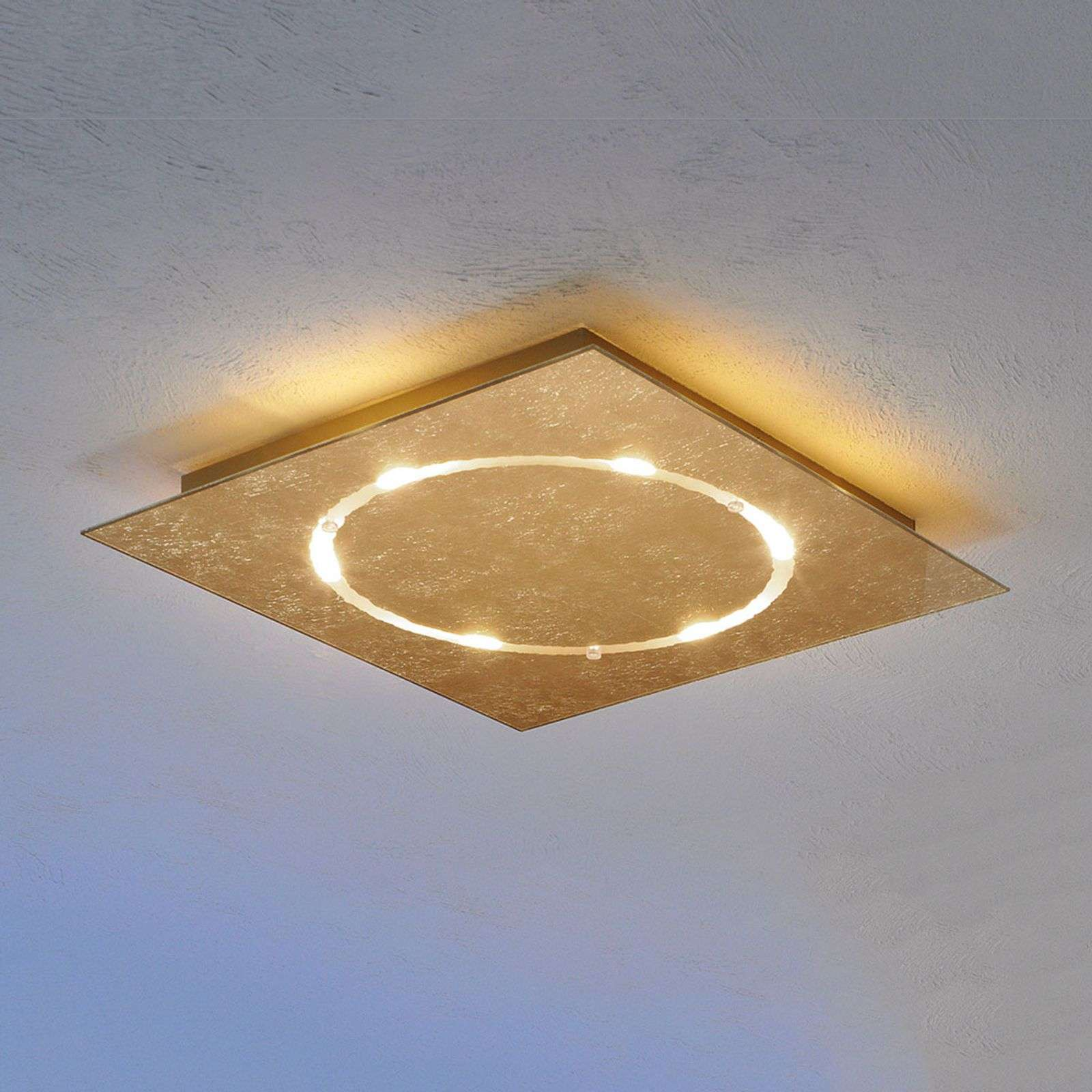 Plafoniera LED Skyline dimmerabile, oro in foglia
