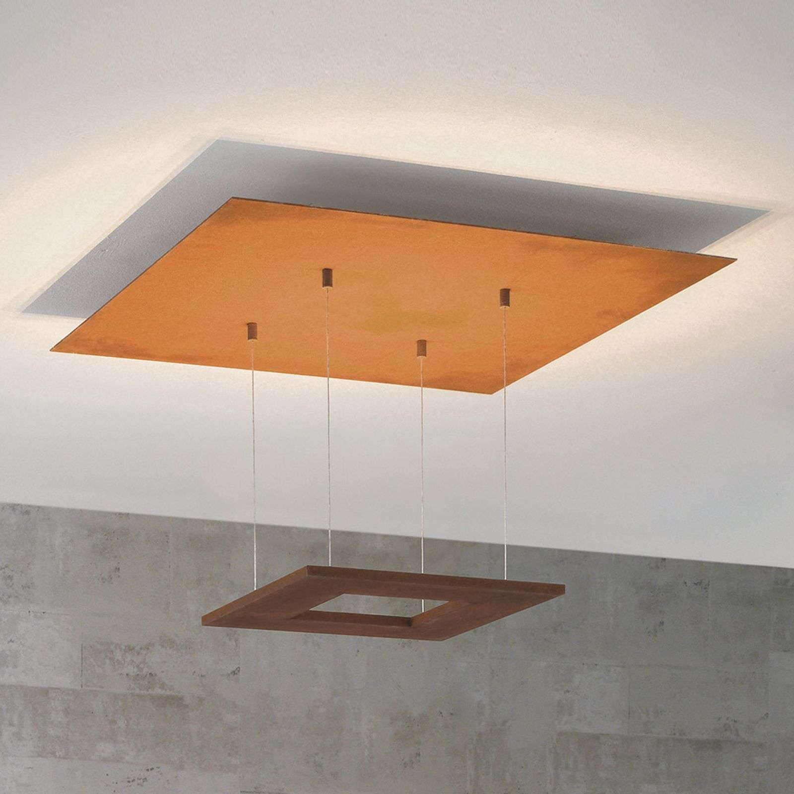 Particolare plafoniera LED Zen 60 cm color ruggine