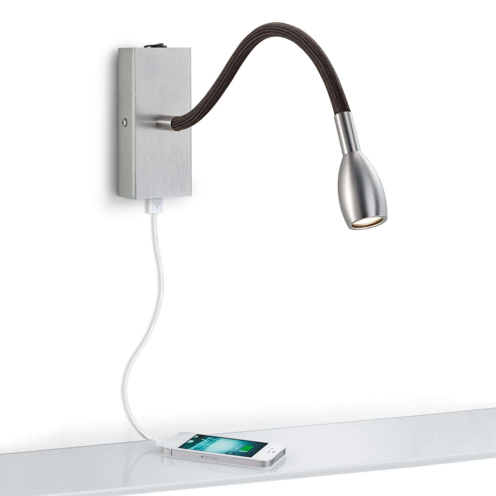 Applique a LED Milos nichel con attacco USB
