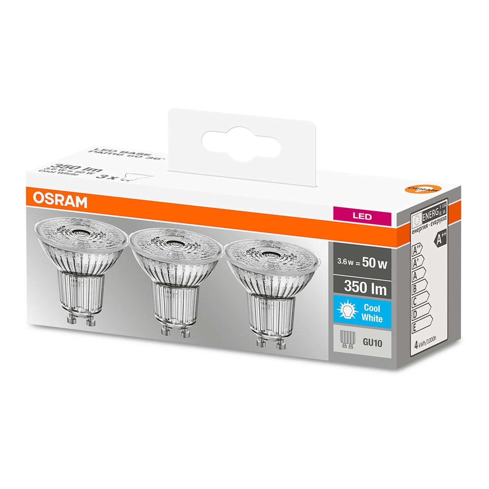 Lampadina LED a riflettore GU10 3,6W, set da 3