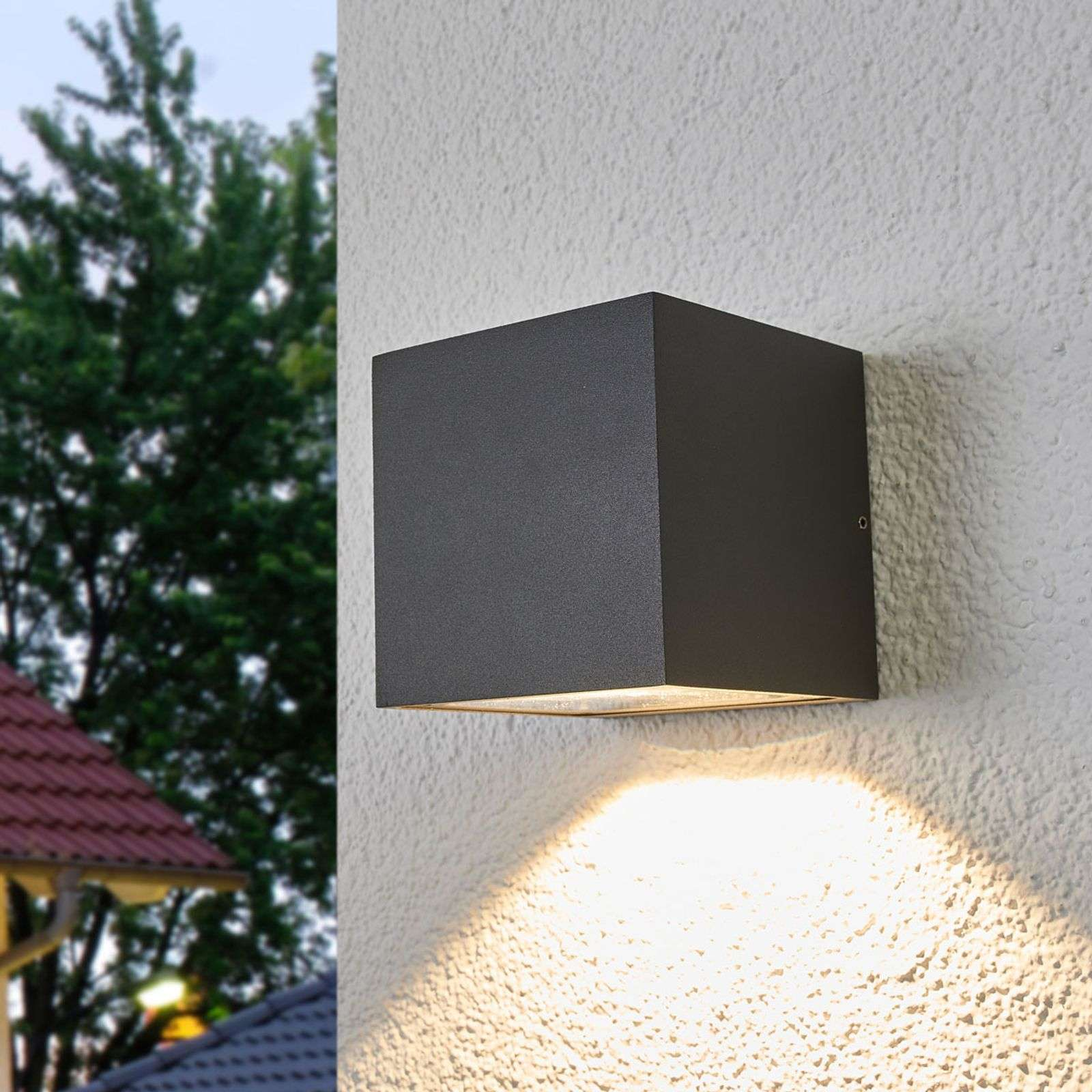 Merjem - applique LED da esterni in grigio scuro