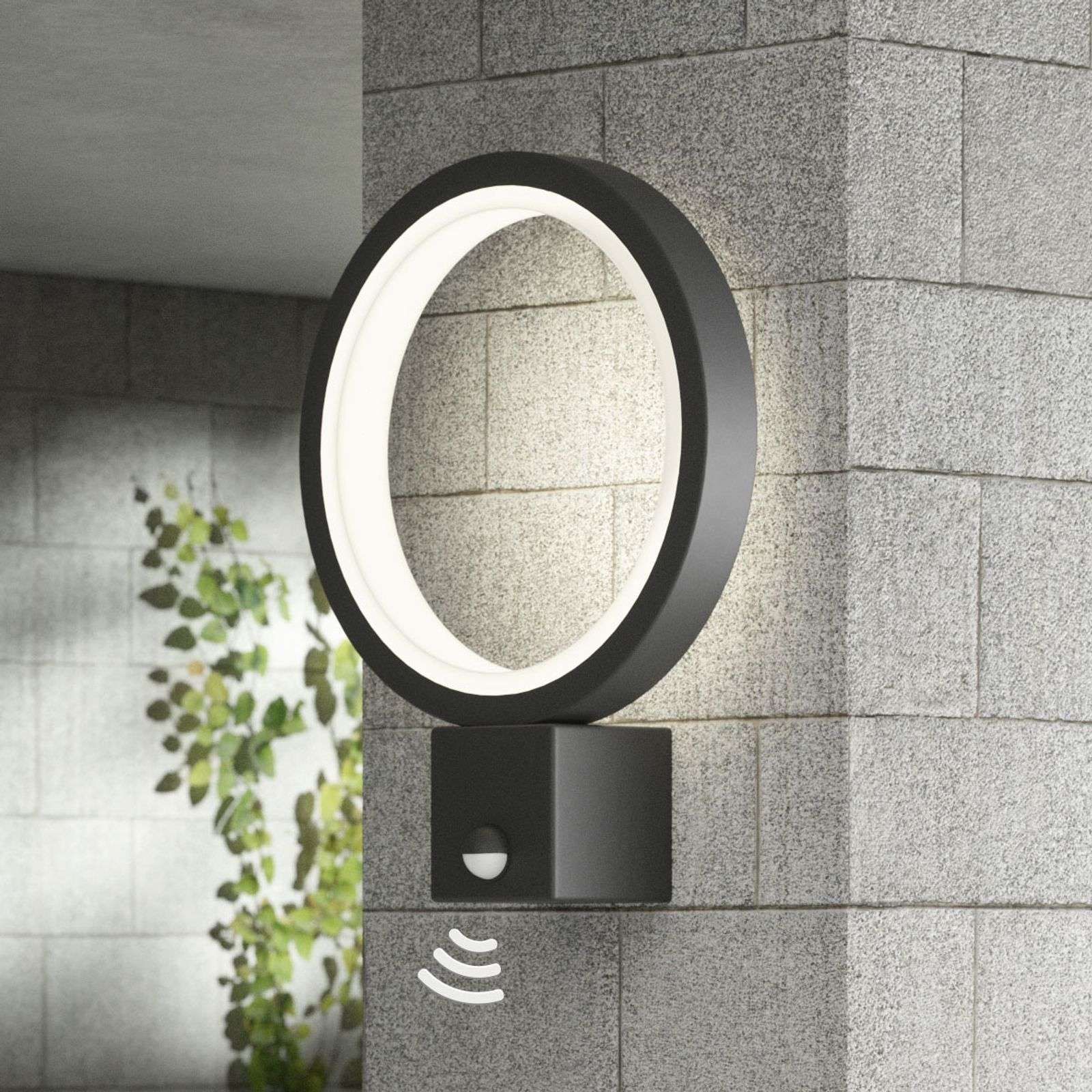 Applique da esterni LED Ring, grafite, con sensore