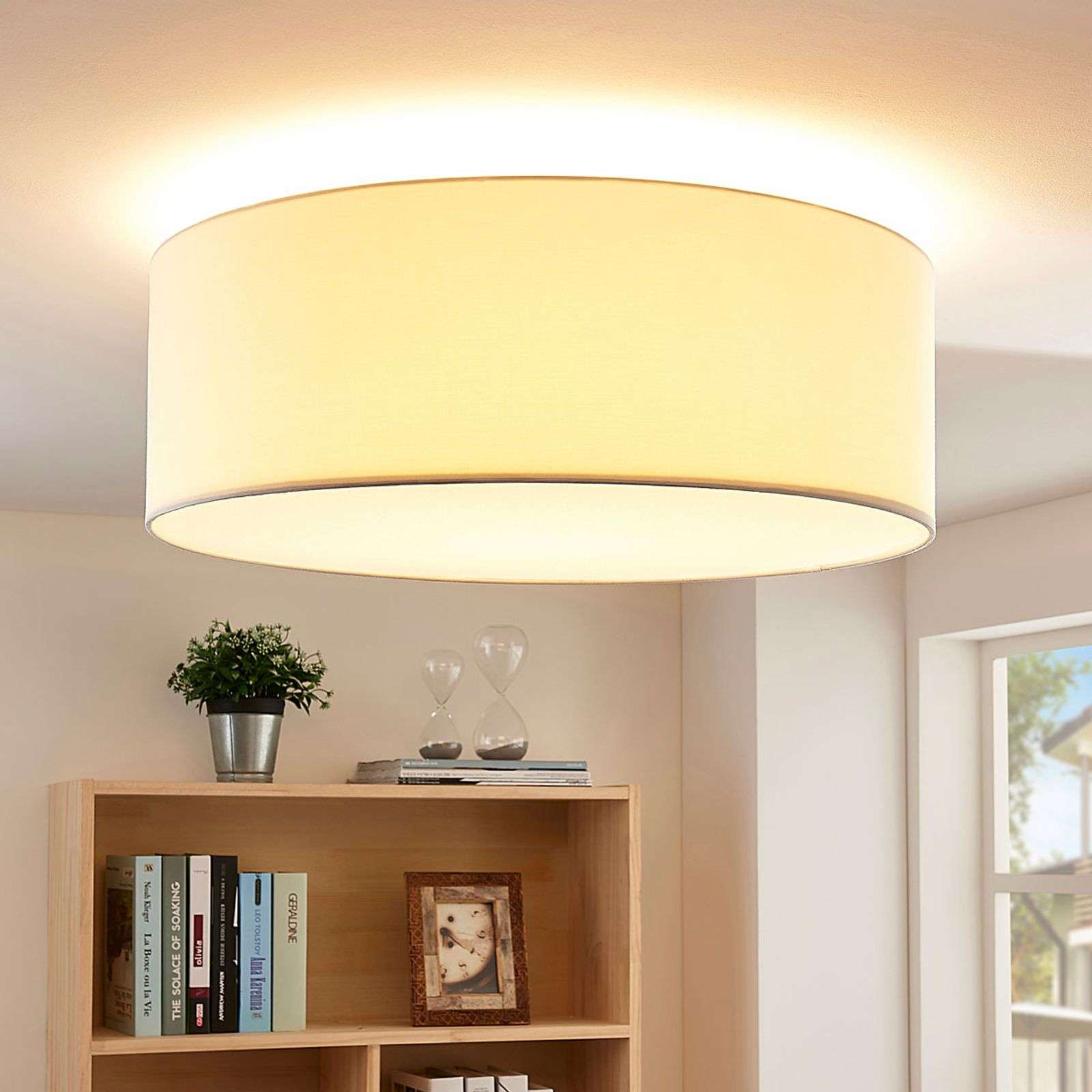 Plafoniera LED Dora in tessuto color crema