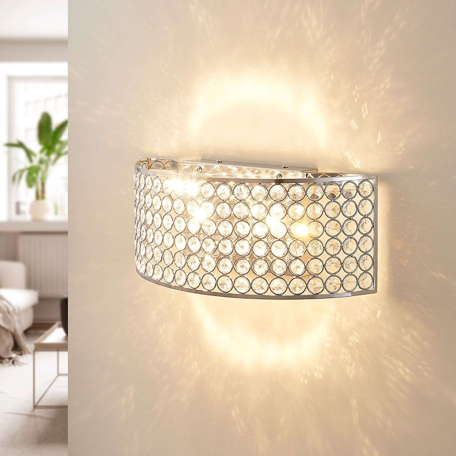 Applique a LED Alizee in cristallo di vetro, cromo