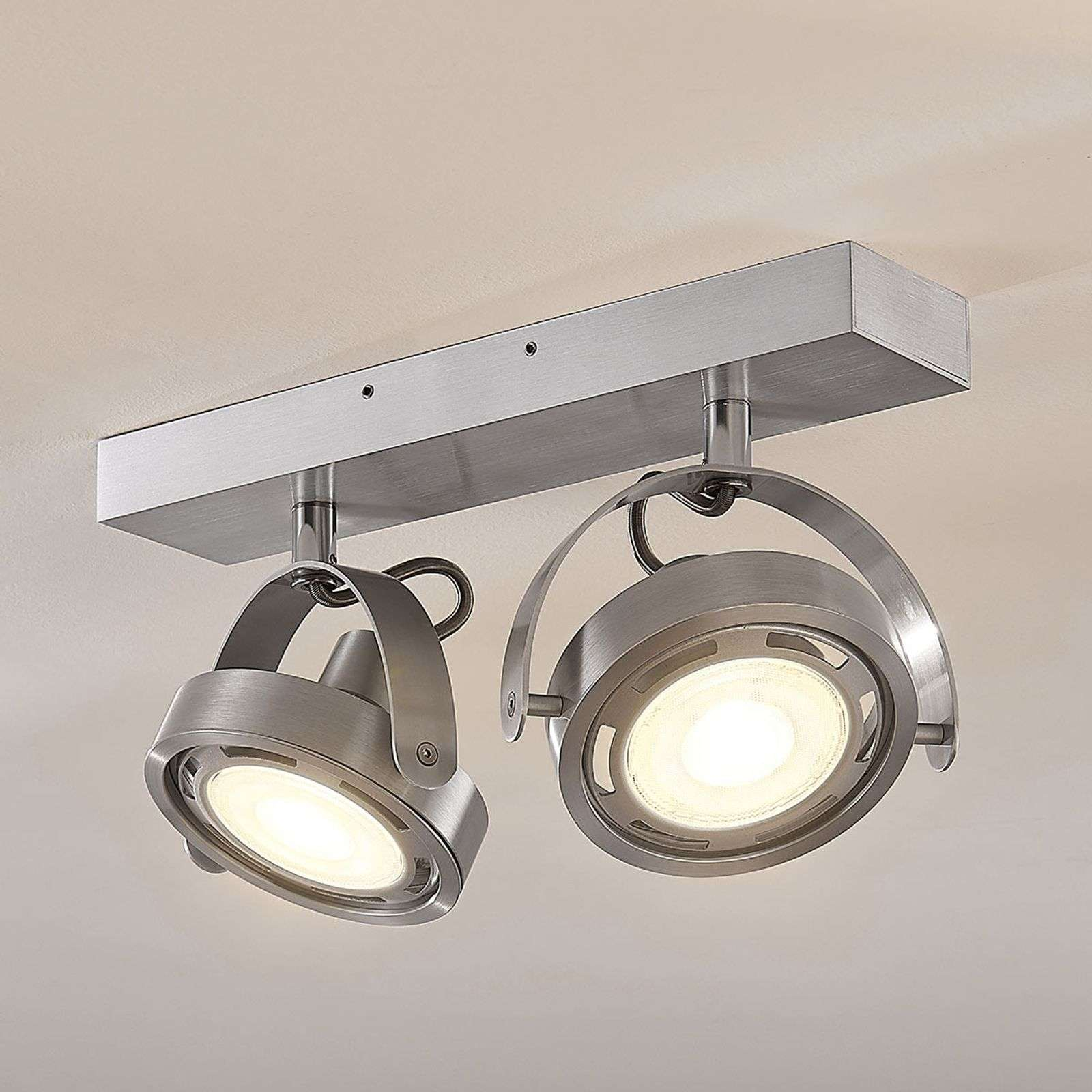 Faretto a LED Munin in alluminio, dimmer, a 2 luci