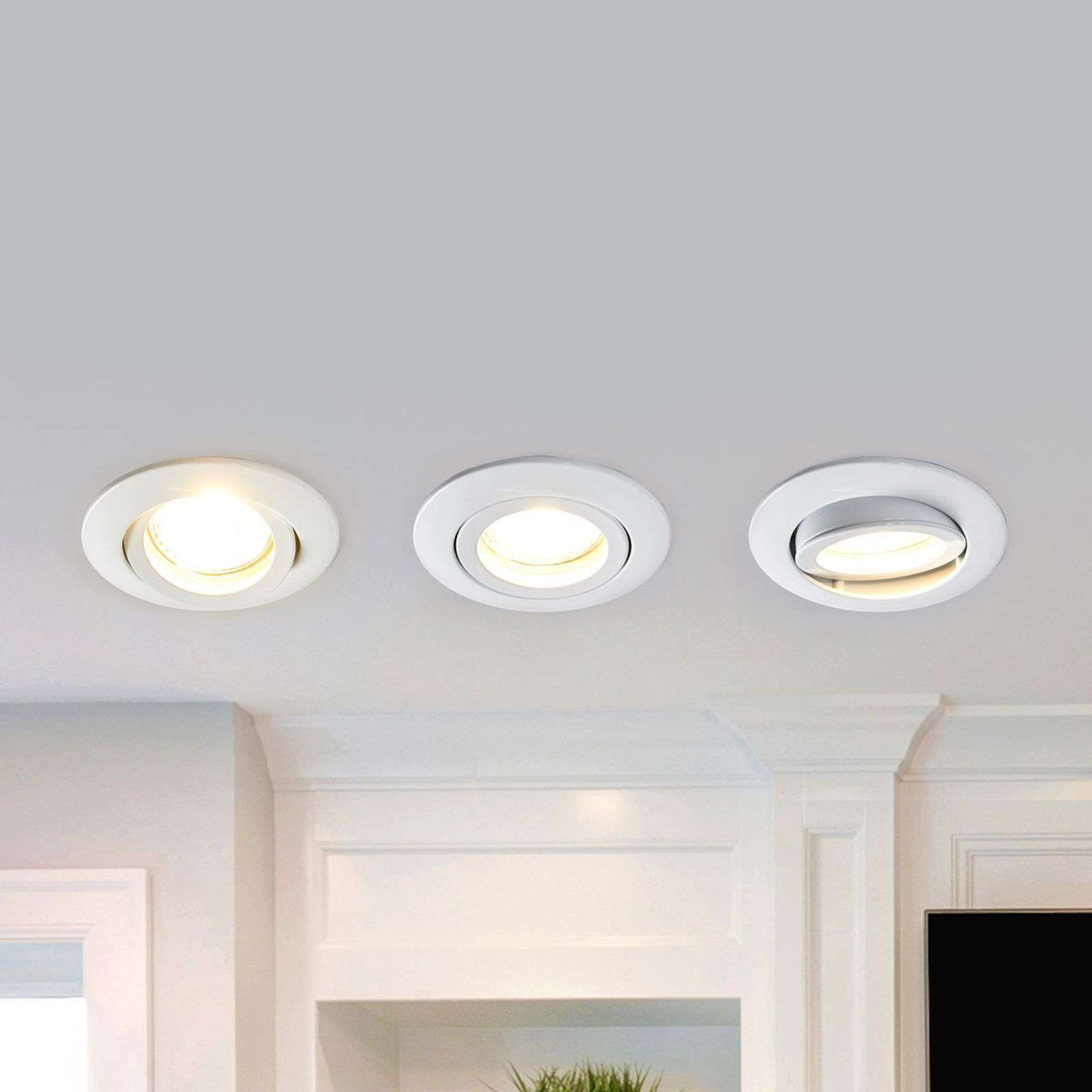 Set di 3 downlight LED rotondi Charna, bianco