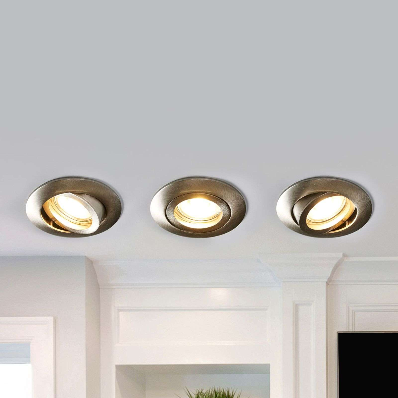 Charna - set di 3 downlight LED, nichel
