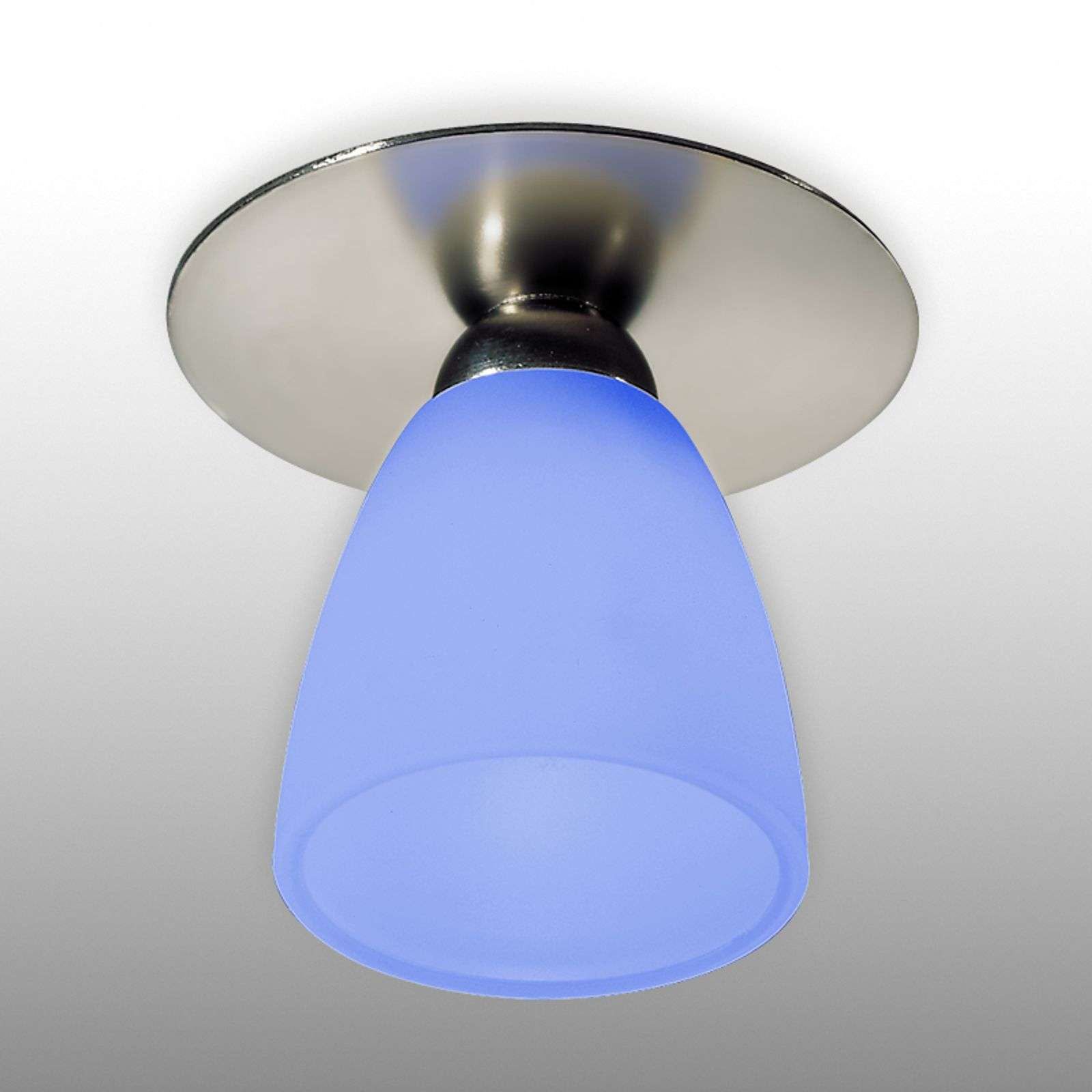 Downlight ARTE nichel satinato, vetro blu